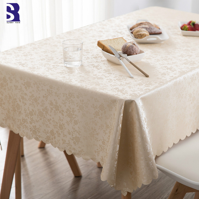 SunnyRain 1-Piece PVC Oilproof Tablecloth Waterproof Table Cloth For Dining Table Rectangle Table Cover Round Tablecloths