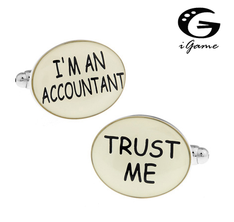 iGame Men Gift Career Cufflinks Wholesale&retail White Color Copper Material Novelty IM AN ACCOUNTANT TRUST ME Design
