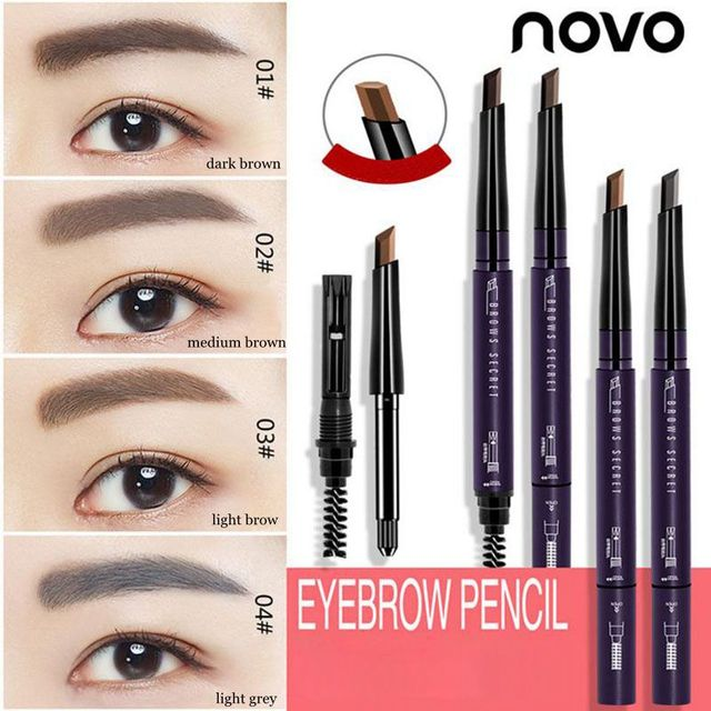 28270677b NOVO Permanent Medium Brown Makeup Eyebrow Automatic Waterproof Paint Eyebrow  Pencil Cosmetics Brow Eye Liner Tools