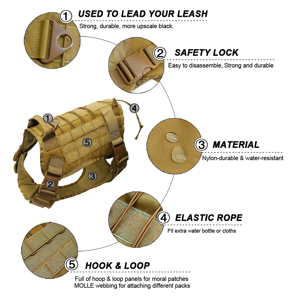 Image 4 - Tactical Dog Harness Military Service Dog Vest with Handle for  Training Adjustable Working K9 Dog Harness For Large Medium  DogsHarnesses