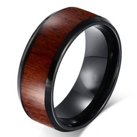 8mm Mens Black Tungsten Carbide Wedding Band Ring With Natural Wood Inlay Personalize Christmas Women Gift