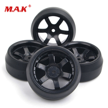 4Pcs/Set Rc Drift Tires & Wheel Rim with 6mm Offset and 12mm Hex fit HPI HSP RC On-Road Racing Car Parts and Accessories 4pcs set rc parts 12mm hex bead loc short course ruber tire rims for hpi hsp rc 1 10 traxxas slash