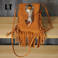 2017 Women Genuine Leather Small Fringe Shoulder Bags Bohemian Folk Indian Ibiza Style Boho Chic Hippie Gypsy Tassel Brown Bags