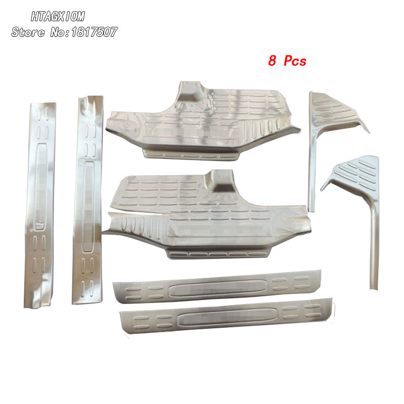 for Toyota Highlander 2014 -2017 Stainless Steel Door Sill Strip Covers Welcome Pedal Car Styling Auto Accessories 8pcs