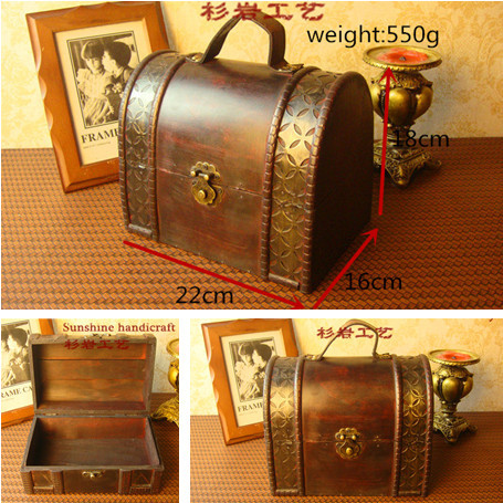Online Shop Goods to home 22cm lockable Wood small suitcase ...