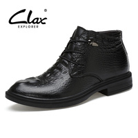 CLAX Men Leather Boots 2017 Winter Fur Boot Male Alligator Shoes Genuine Leather Retro Dress Shoe