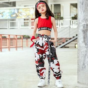 Adultos niños de primavera y otoño trajes de pantalones de camuflaje Borgoña casual harem Hip Hop baile callejero pantalones militares,