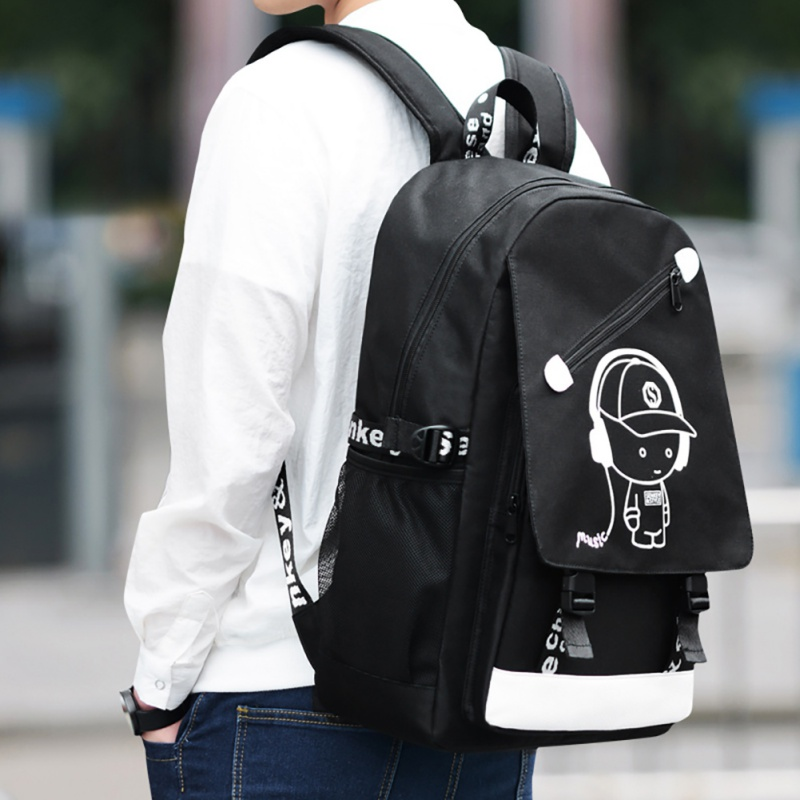 Teenagers Backpack Gym font b Bags b font Senkey Style Cartoon USB font b Music b