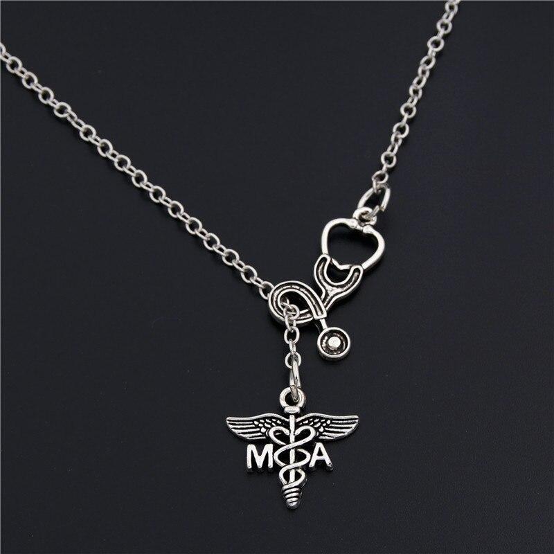 Women Medical Doctor Nurse Stethoscope Pendant Chain Necklace 1PC