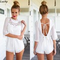 Hot Selling Elegant Lady Jumpsuit Women Sexy Lace Stitching Chiffon Back Strap Backless Jumpsuit Summer Style Overalls 36