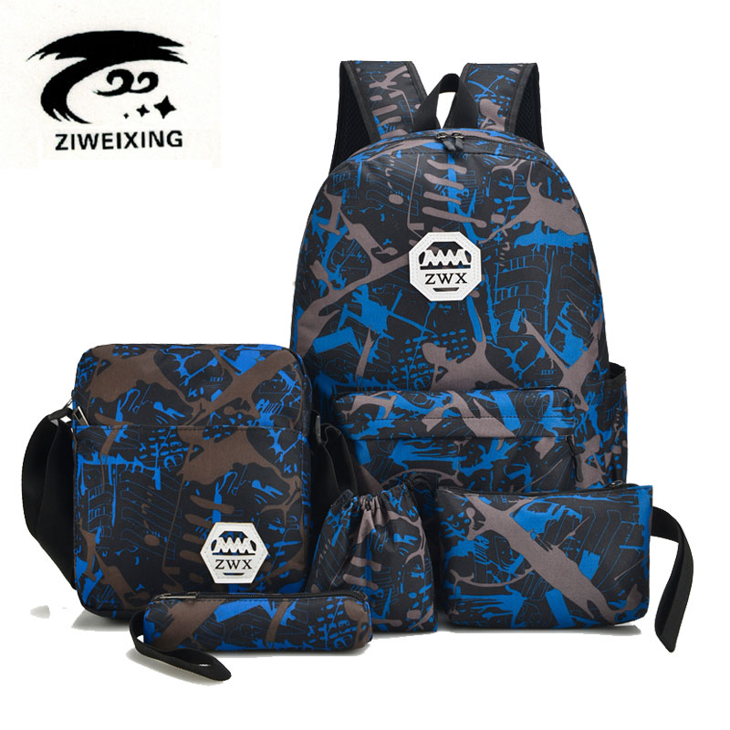 ZIWEIXING New Fashion Travel Backpacks for Teenage Girls Casual School Backpack Oxford Unisex Camouflage Shoulder Bags+Free Gift