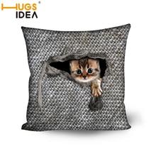 HUGSIDEA 45*45CM Cotton Blend Cushion Cover Home Office Sofa Square Cat Pillow Case Decorative Cushion Covers Gray Pillowcases