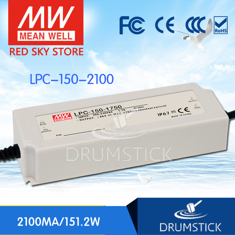Selling Hot MEAN WELL LPC-150-2100 72V 2100mA meanwell LPC-150 72V 151.2W Single Output LED Switching Power Supply mean well clg 150 12b 12v 11a meanwell clg 150 12v 132w single output led switching power supply [real6]