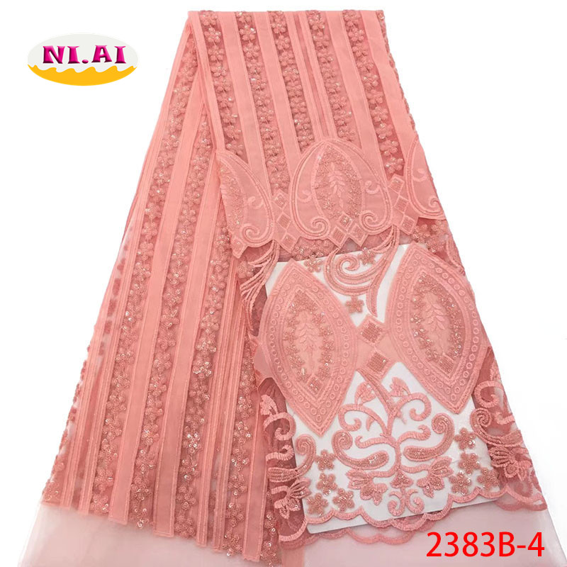 Peach Velvet Lace Fabric Sequin Lace Applique Lace Fabric Tulle Nigerian Lace Fabrics For Wedding MR2383B