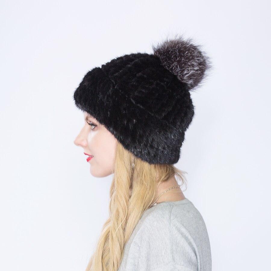 WNAORBM 100% vison nouveau hiver chaud vison chapeau mode dame tissé eau vison chapeau coupe-vent oreille protecteur chapeau avec renard chapeau balle - 4