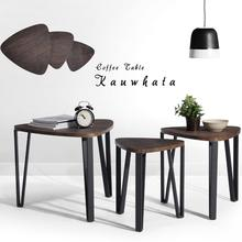 Aingoo Coffee Table Set of 3 End Side Table Stacking Tea Table Brown Modern Leisure Wood Table With Metal Tube for Living Room