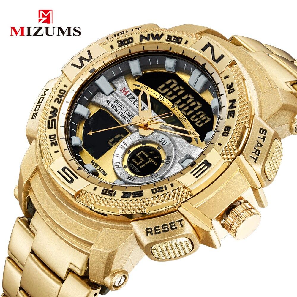 MIZUMS de luxe hommes LED montre à Quartz numérique hommes armée militaire Sport montres mâle étanche Date montre-bracelet Relogio Masculino