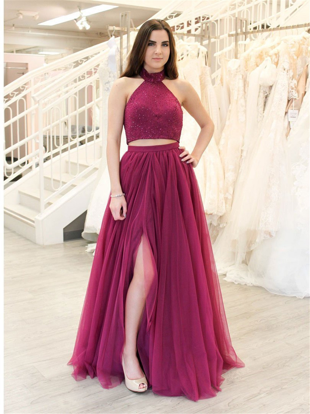 High Quality Purple Tulle 2 Piece   Prom     Dresses   Halter Backless A Line Long Elegant Formal   Dress   2019 Custom Made Party Gown