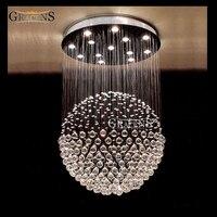 Современный прозрачный кристалл потолочный светильник хрустальный шар большой шар блеск установки принцесса кристалл Luminaria Teto Pendente