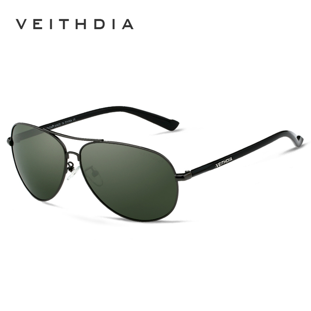 VEITHDIA 2017 New Brand Men's Polarized Sunglasses Sun Glasses Green Lense Metal Frame Driving oculos de sol masculino 2670