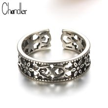 Chandler 925 Sterling Silver Antique Classical Hollow Flower Design Ring For Women Men Tail Silver Open Black Fashion Jewelry(China)