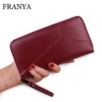 High Capacity Fashion Women Wallets Long Dull Polish PU Leather Wallet Female Double Zipper Clutch Coin