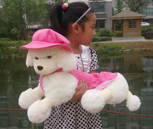 middle size cute poodle dog toy plush pink hat and skirt dog doll gift about 50cm