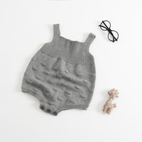 New Gray Knit Baby Jumpsuit Autumn Spring Overalls For Children Toddler Baby Knitted Romper With Small