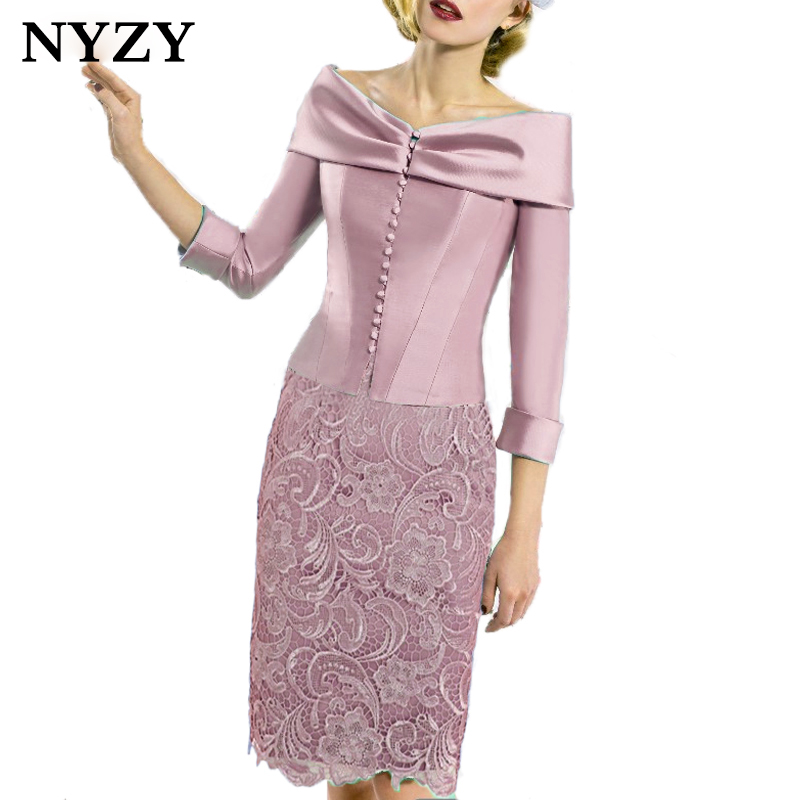 NYZY C168P Elegant Pink Satin Bolero 2 Piece Vestidos Coctel 2019 Robe De Cocktail Wedding Party Dress Guest Wear Church Suits