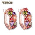 FEEROW Fashion Jewelry Rose Gold Plated Mona lisa Multicolor Crystal AAA+ Zirconia Simulated Diamond Women Stud Earrings FWEP094