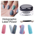 1 Caja de Uñas Glitter Holográfica Láser de Uñas Lentejuelas de Lentejuelas Holograma Láser de Uñas Glitter Powder Sparkle Polvo Polvo