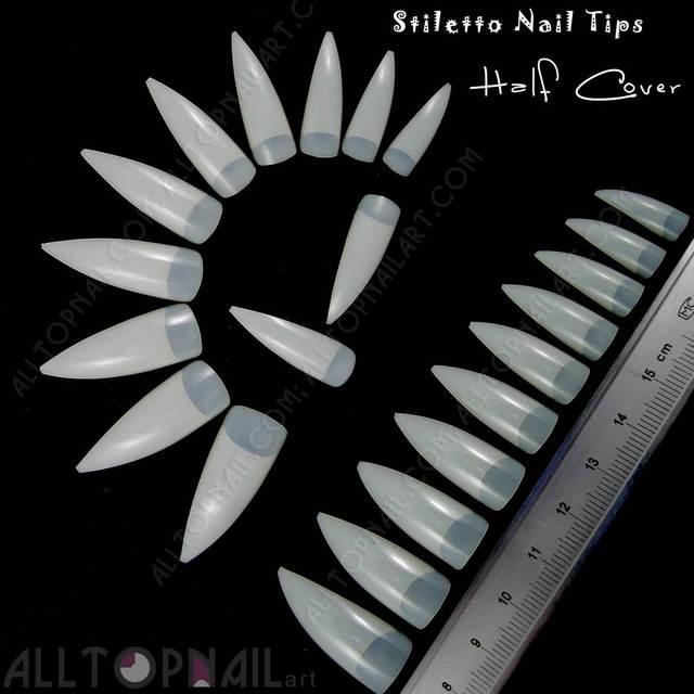 Natural/Beige French Stiletto Acrylic Artificial False Nail Tips 100x Half  Cover Fake Nail Art Tips Makeup DIY -Free Shipping