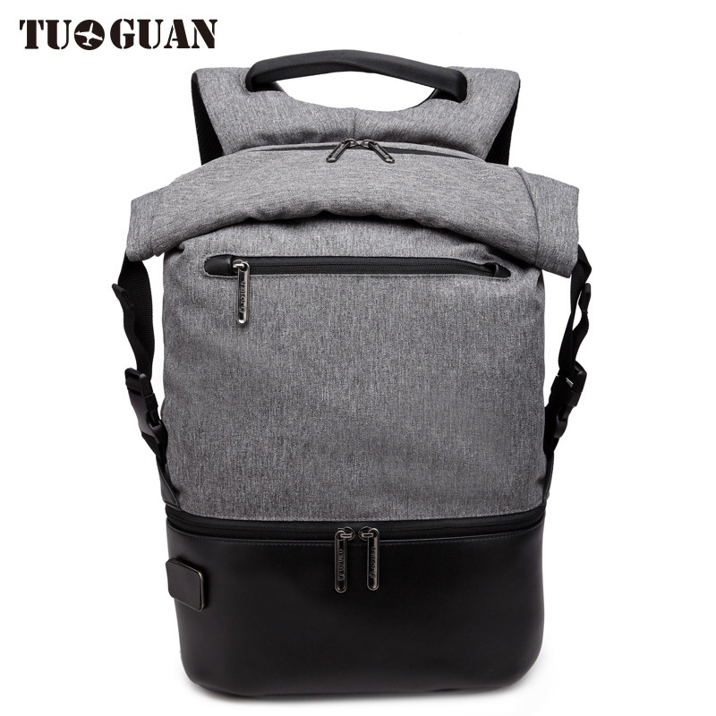 TUGUAN Men Travel Anti theft Backpack Student School Lettering Patchwork Back Pack Casual Waterproof Laptop Bags for Boys Male