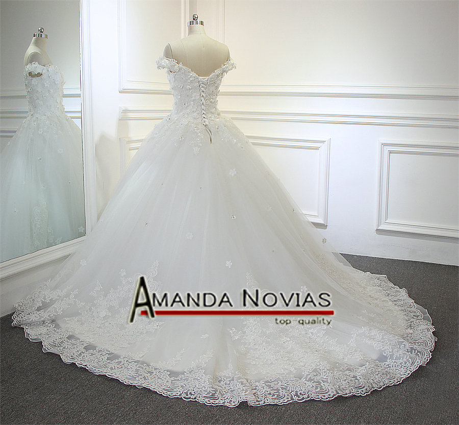 2017 Newest Special Lace Ball Gown Real Amanda Novias Wedding Dress With Flowers In Dresses From Weddings Events On Aliexpress Alibaba Group