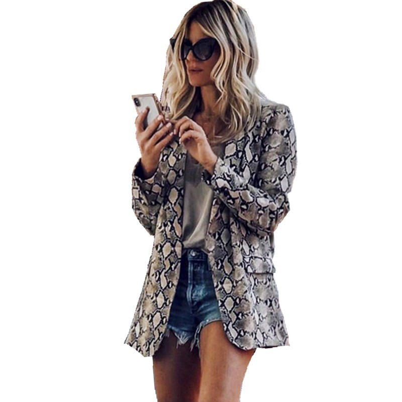 Blazer Blanc 2019 Woman Autumn Sexy Fashion Snake Print Leopard Long Sleeve Loose Coat Women Blazers For Office