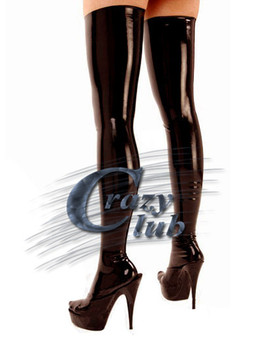Crazy club_New arrival Low latex thigh length stockings womens black stocking long latex stocking Free Shipping Fast Delivery