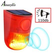 Minilâmpada solar com alarme de led, 110db 6 led, luz de aviso, à prova d água, iluminação de som, com sensor de movimento