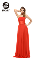 Long Evening Dresses Strapless Ruched Bust Red Chiffon 2019 A Line Sleeveless Floor Length New Arrival Evening Dresses Vestidos