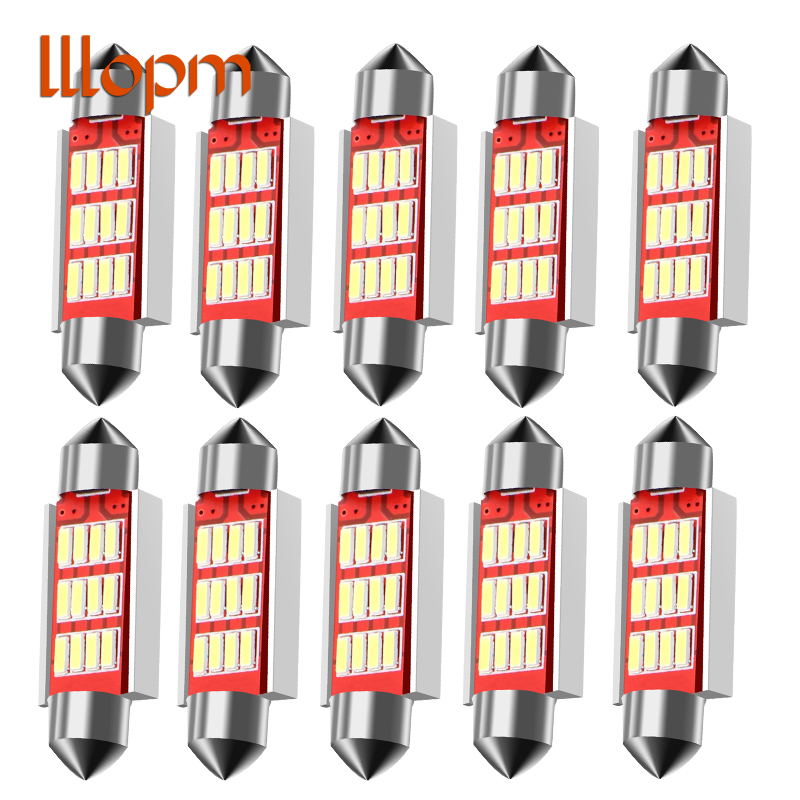 10pcs/Lot Led Festoon Size 36mm 39mm 41mm Dome Light 12SMD 4014 SMD CANBUS Car Interior Bulbs c5w License Plate Lights 12v New 22pcs car canbus led kit package 5630 smd white interior map dome glove box door license plate light for jaguar f type 2014 20xx