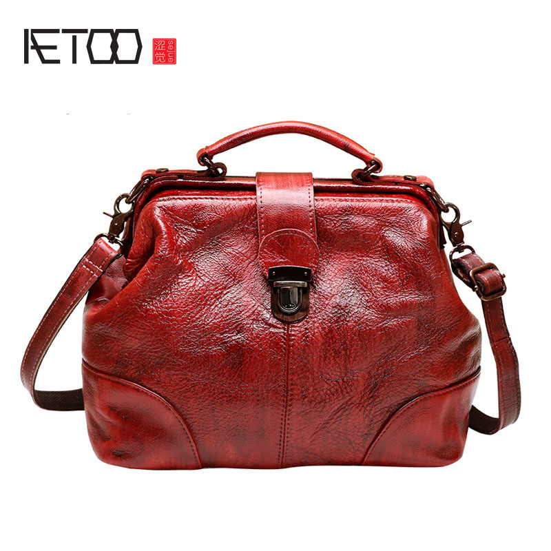 AETOO Bag female leather handbags retro new leather bag shoulder diagonal cross package handbag wild bag large capacity summer bag 2018 new round package personality retro handbag imported leather messenger bag female shoulder bag leather handbags
