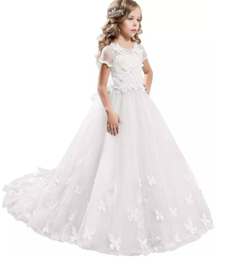 Lace White New Flower Girl Dresses Cap Sleeves Baby Girl Birthday Party Christmas Communion Dresses Children Girl Party Gown new red champagne flower girl dresses long sleeves lace satin mother daughter dresses for children christmas party prom gown