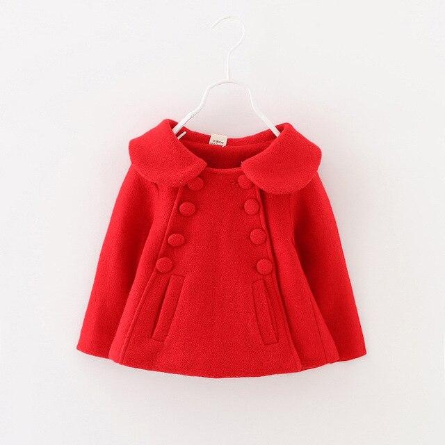 2017 girl outwear winter children's clothing for girls woolen jacket baby faux fur coat 1-2-3 year 1127