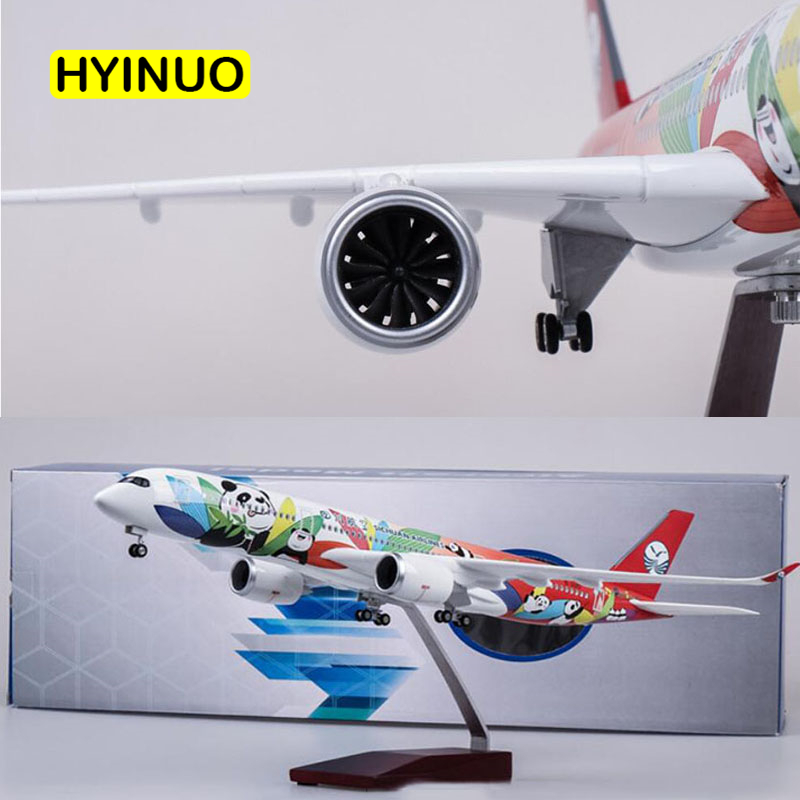 47CM 1 142 Scale Airplane Airbus A350 Sichuan Panda Airline Model W Light and Wheel Diecast