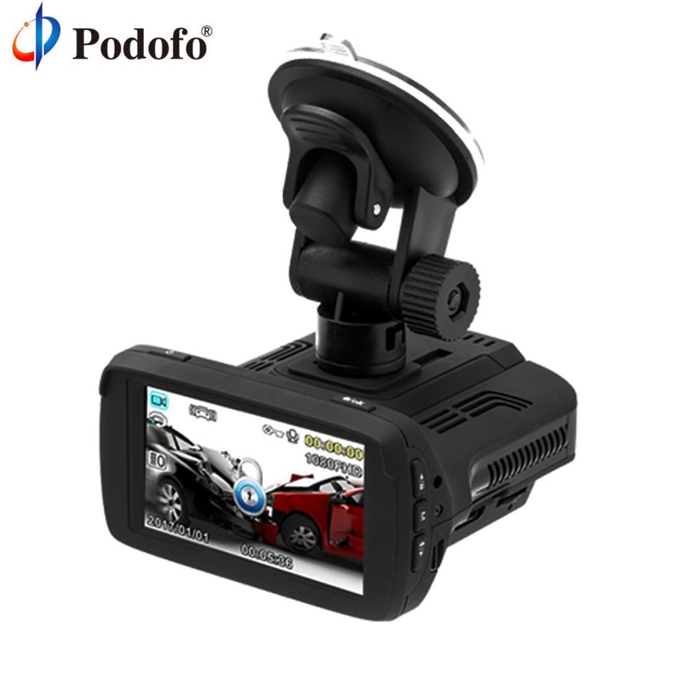 Podofo Ambarella A7 Dvr Auto Anti Rivelatore Del Radar GPS 3 in 1 Full HD 1080 P Lingua Russa LDWS Dashcam Video Recorder Cancelliere