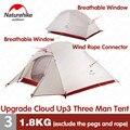 Naturehike палатка обновления CloudUp серии 3 человека 20D силиконовый двойной алюминиевый слой полюс Сверхлегкий Кемпинг палатка NH18T030-T
