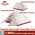 Naturehike Tent Upgrade CloudUp Serie 3 Personen 20D Siliconen dubbellaags Aluminium Paal Ultralight Camping Tent NH18T030-T
