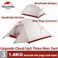 Naturehike tienda actualización CloudUp Serie 3 personas 20D de silicona doble capa de poste de aluminio ultraligero de la tienda de Camping NH18T030-T