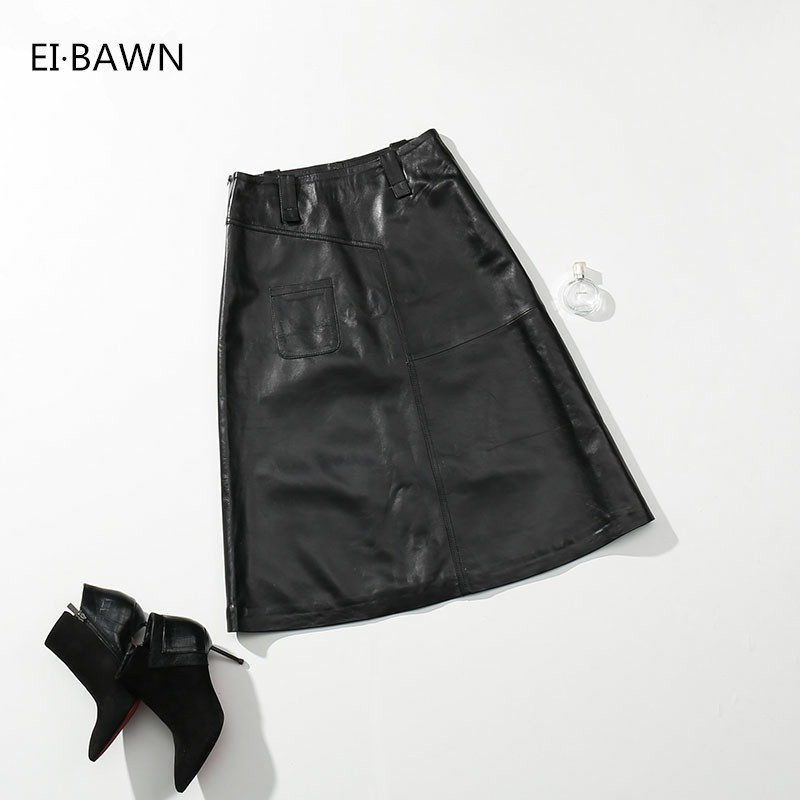 2018 New Spring skirts woman black Sexy A line Suede Leather Midi Skirt Ladies high waist slim sexy elegant clothes Korean Style