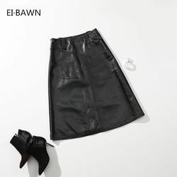 2019 nuevo otoño Faldas Mujer negro Sexy una línea de cuero de gamuza faldas medias para mujer de cintura alta ajustada sexy Elegante ropa estilo coreano