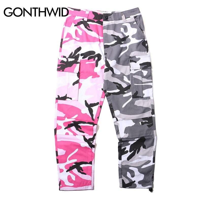 2019 Deux Tone Camo Pantalon Hommes Hip Hop Patchwork Camouflage Militaire Pantalon Cargo Hommes Occasionnels Coton Multi Poches Pantalon streetwear - 4